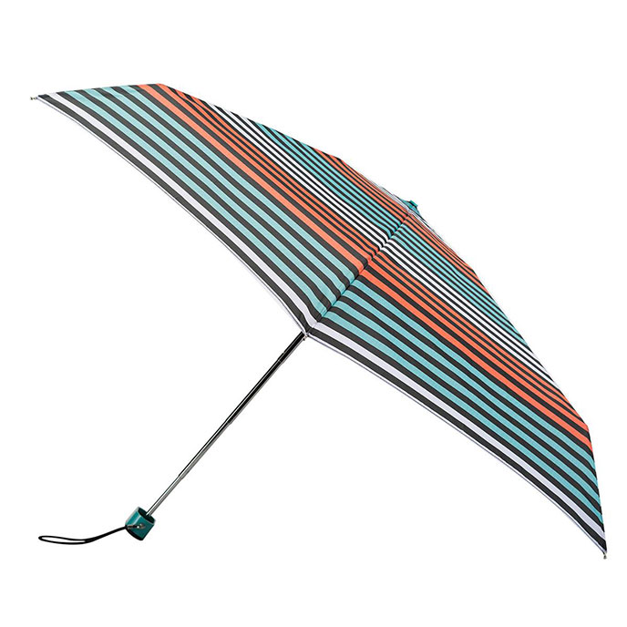 totes Miniflat Thin Coral/Aqua Stripe Print Umbrella (5 Section)