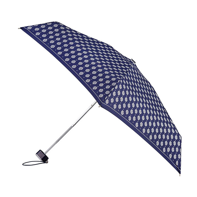 totes Miniflat Metallic Silver Paisley Border Print Umbrella (5 Section)