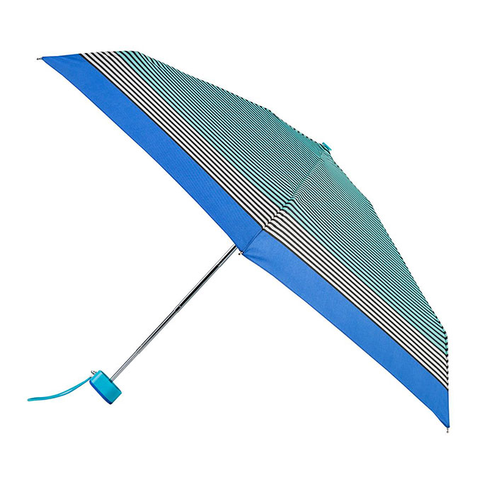 totes Miniflat Black Stripe with blue Border Print Umbrella (5 Section)