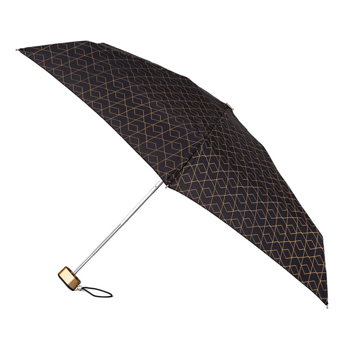 totes Compact Flat Geo Metallic Print Umbrella (5 Section)