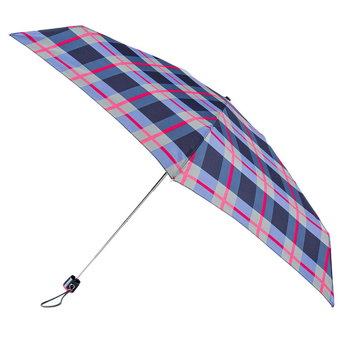 totes Compact Flat Check Print Umbrella  (5 Section)