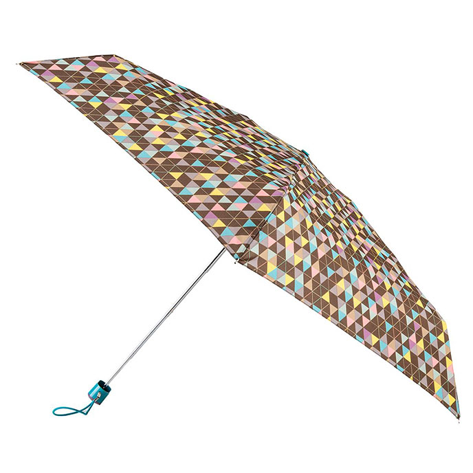 totes Compact Flat Triangle Print Umbrella (5 Section)