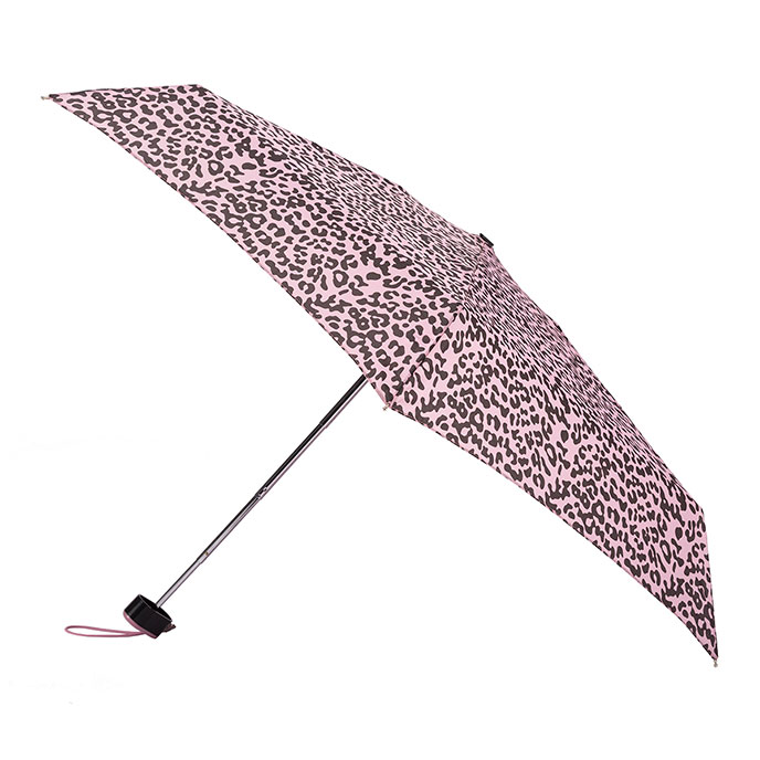totes Miniflat Thin Pink/Chocolate Leopard Print Umbrella (5 Section)
