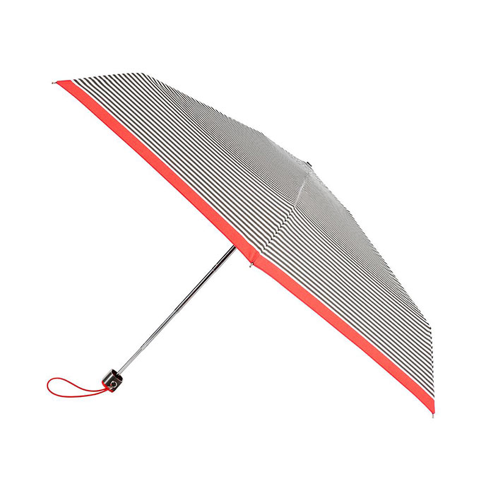 totes Miniflat Cream Stripe with Scarlet Border Print Umbrella (5 Section)