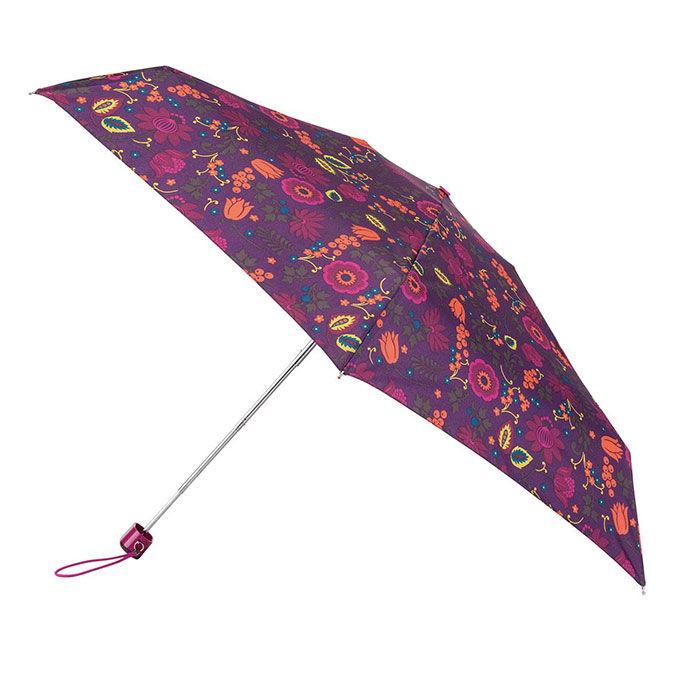 totes Miniflat Folk Floral Print Umbrella (5 Section)