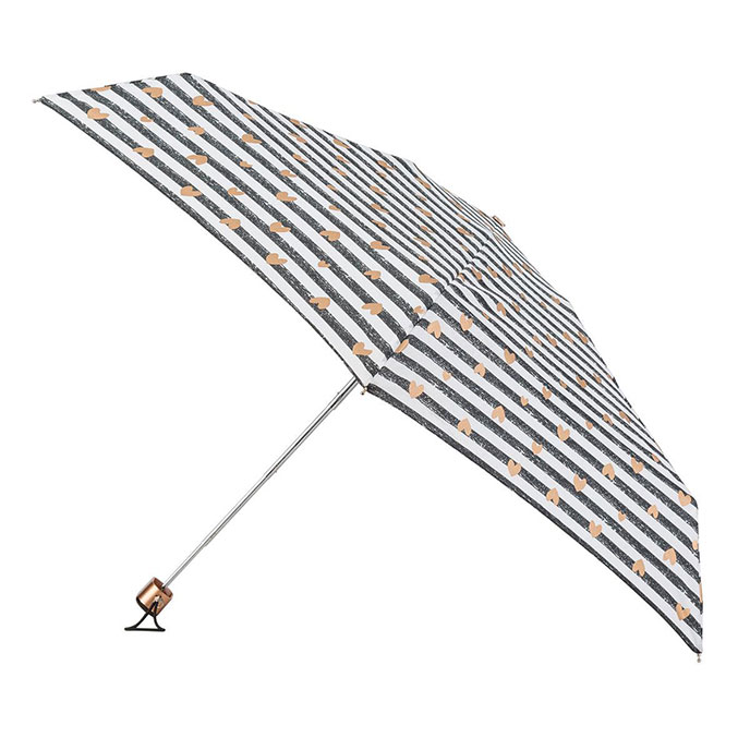 totes Miniflat Stripe with Copper Hearts Umbrella (5 Section)