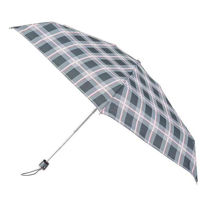 totes Miniflat Grey Check Print Umbrella (5 Section)