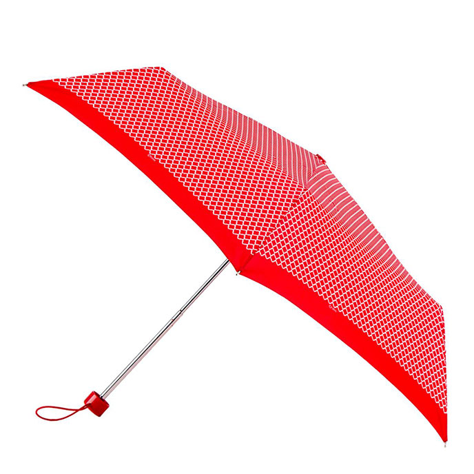 totes Supermini Red/White Print Umbrella  (3 Section)