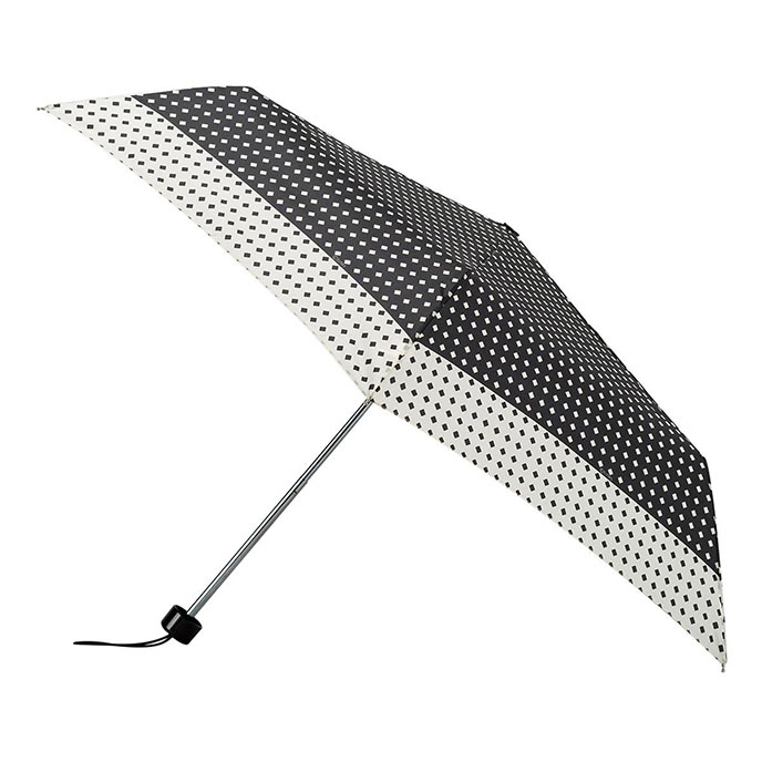 totes Steel Black/Cream Diamond Print Umbrella  (3 Section)