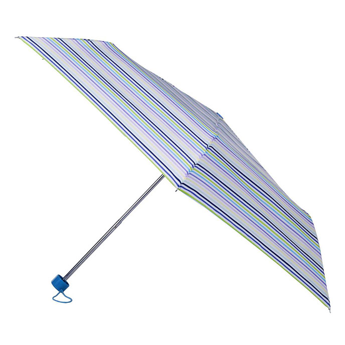 totes White Multi Thin Stripe Mini Umbrella  (3 Section)