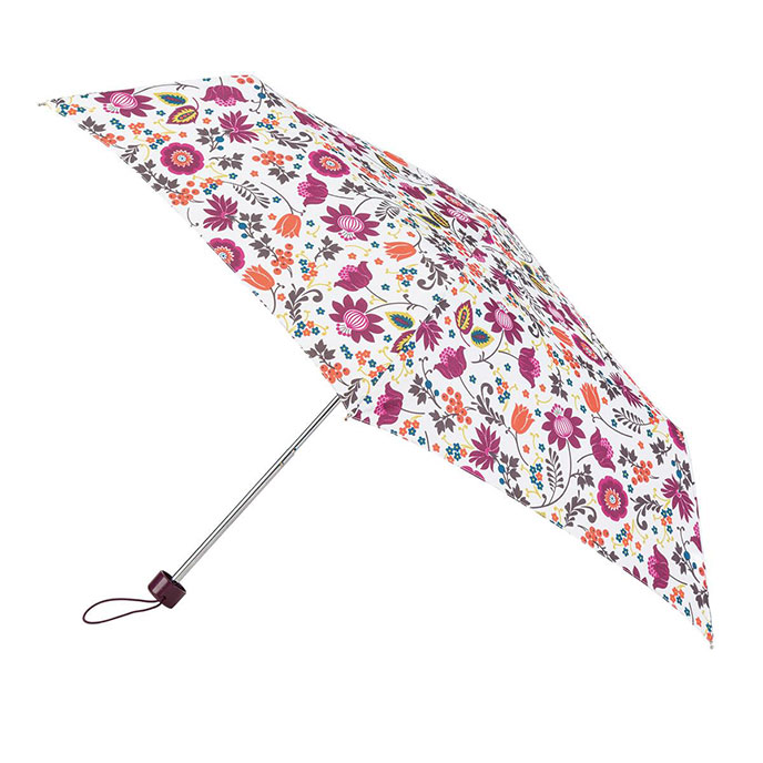 totes Supermini Cream Folk Floral Print Umbrella (3 Section)