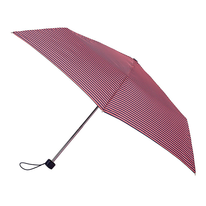 totes Steel Coral/Navy Thin Stripe Print Umbrella (3 Section)