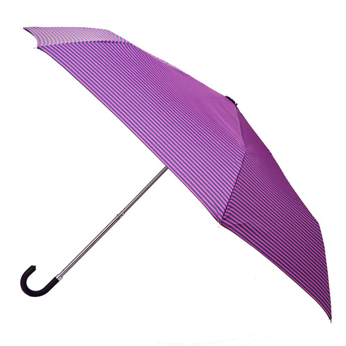 totes Navy & Raspberry Thin Stripe Umbrella (3 Section)