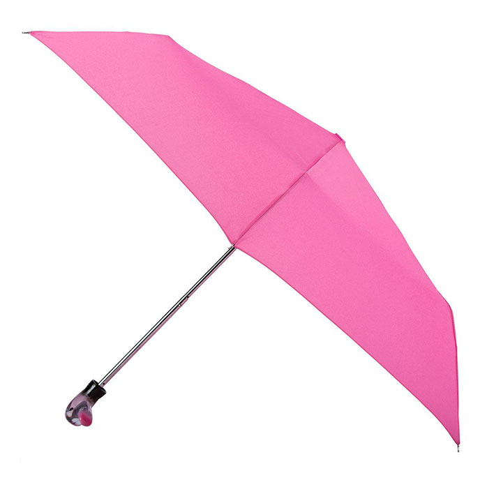 totes Steel Pink Print with Duck handle Umbrella  (3 Section)
