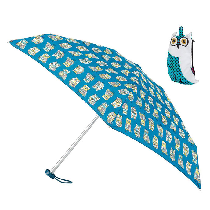 totes Compact Round Umbrella in Owl Case (5 Section)