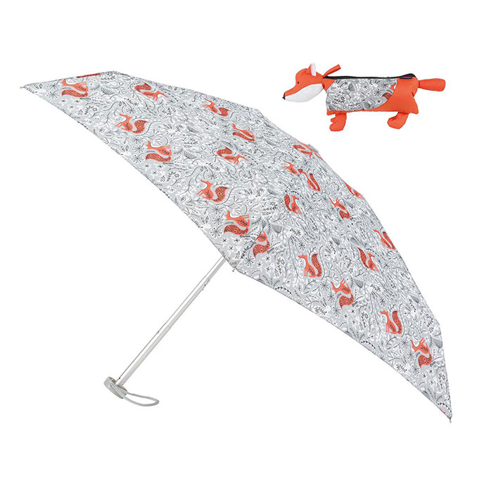 totes Compact Round Umbrella in Fox Case (5 Section)