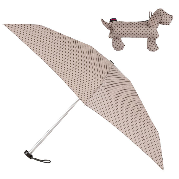 totes Compact Round Umbrella in Sausage Dog Case  (5 Section)