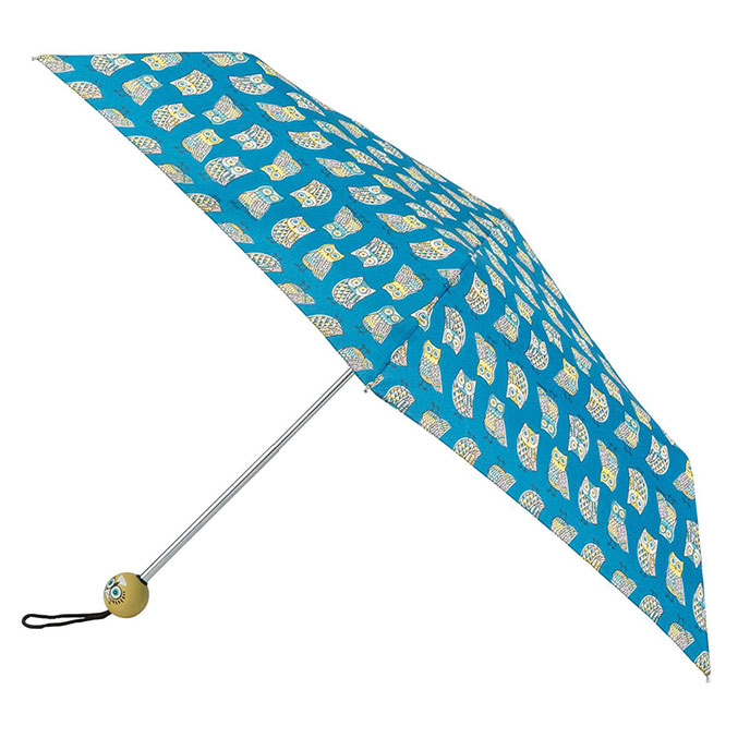 totes Supermini Owl Print Umbrella (3 Section)