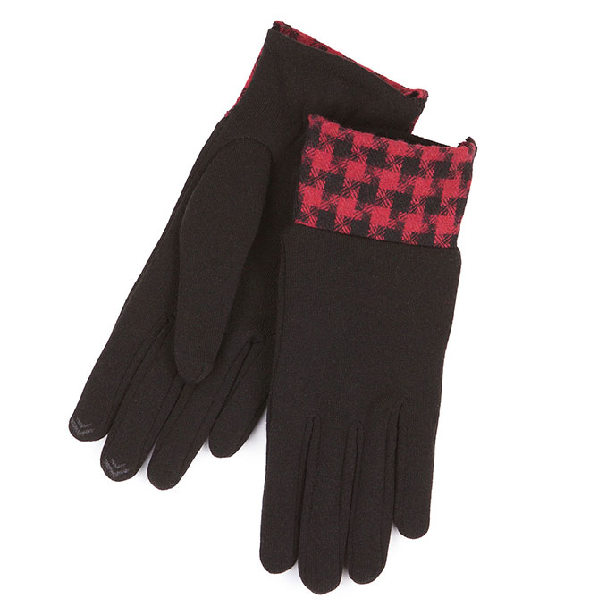 Isotoner Smartouch Dogtooth Cuff Thermal Gloves Black