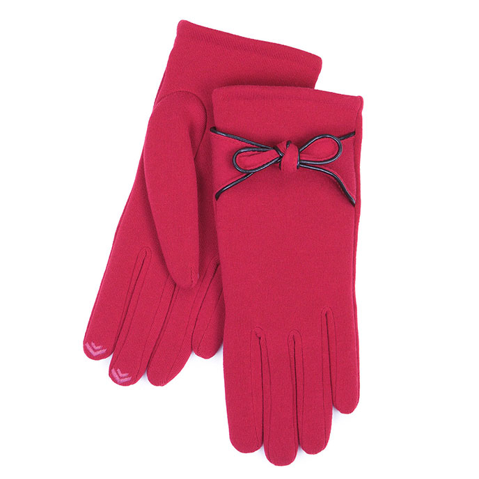 Isotoner Smartouch Bow Detail Thermal Gloves Berry