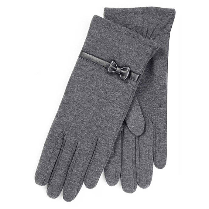 Isotoner Ladies Basic Thermal PU Gloves with Bow Grey