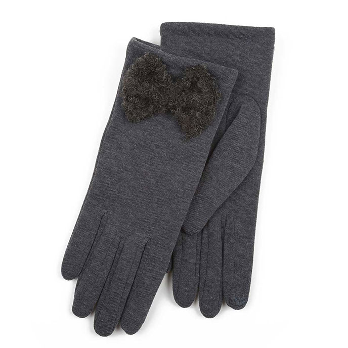 Isotoner Ladies Thermal Glove with Big Bow Grey