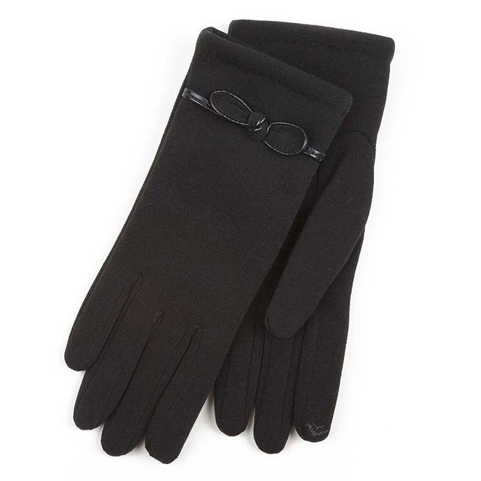 Isotoner Ladies Smartouch Glove with Bow Detail Black