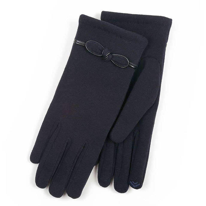 Isotoner Ladies Smartouch Glove with Bow Detail Navy