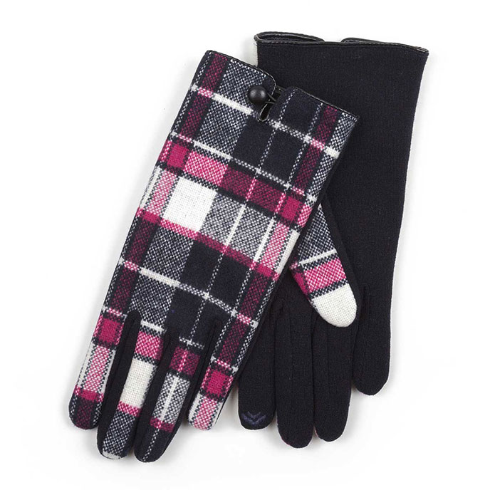 Isotoner Ladies Woven Thermal Gloves Navy Check