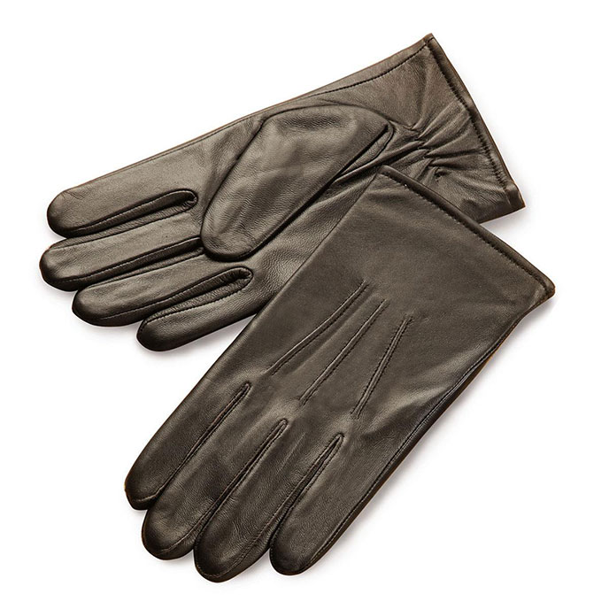 isotoner 3 Point Leather Glove Brown