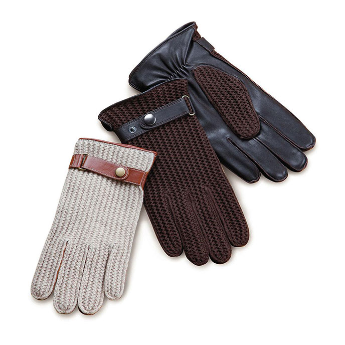 isotoner Cotton Knit Back Glove Brown