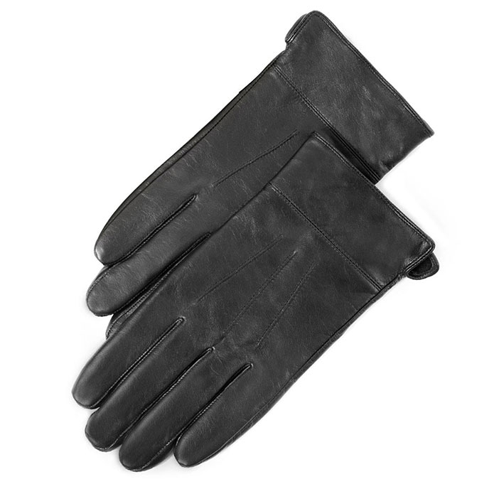 isotoner 3 Point Leather Glove with Cuff Black