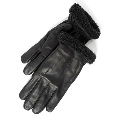 isotoner Berber Cuff Leather Glove Black