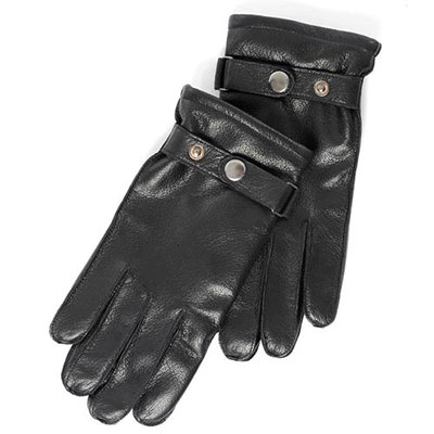isotoner Textured Leather Glove with Outseam Black