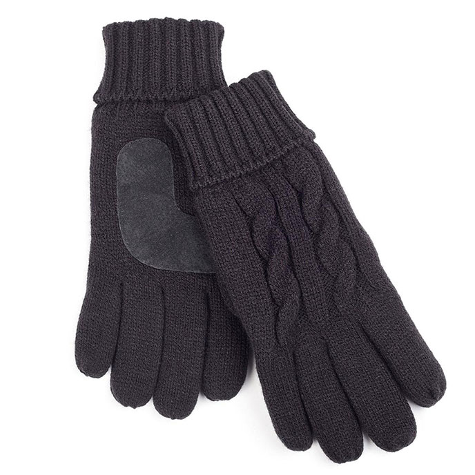 isotoner Mens Thinsulate Lined Cable Knit Gloves Black