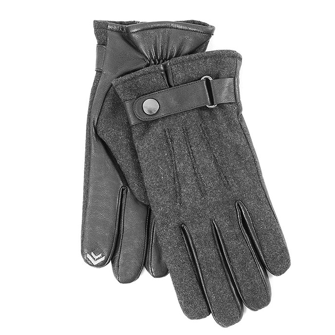 isotoner Mens Flannel & Leather Smartouch Gloves Black