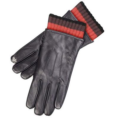 isotoner Mens Chunky Knit & Leather Smartouch Gloves Black