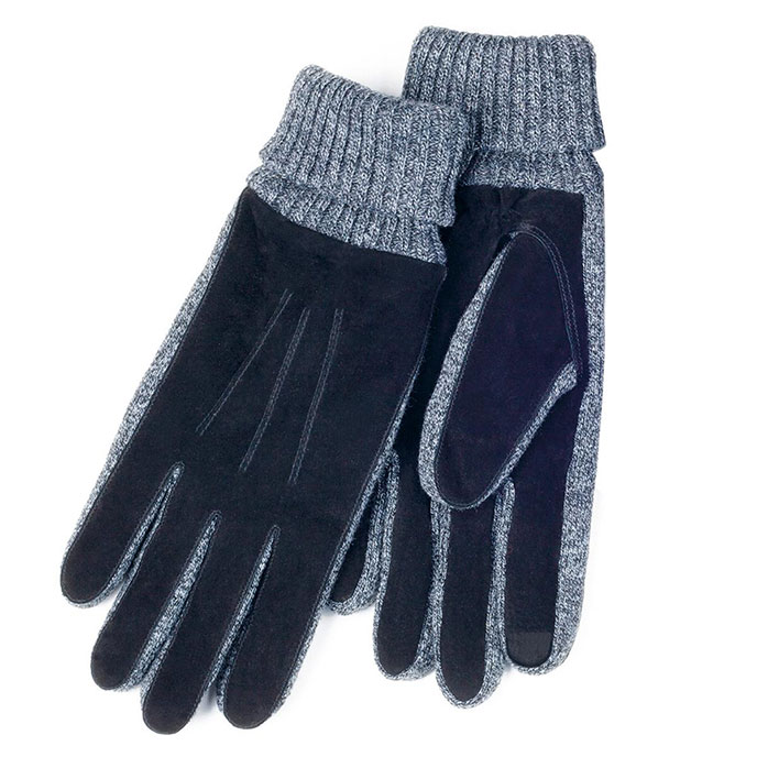 isotoner Mens Knit Cuff Suede Smartouch Gloves Black