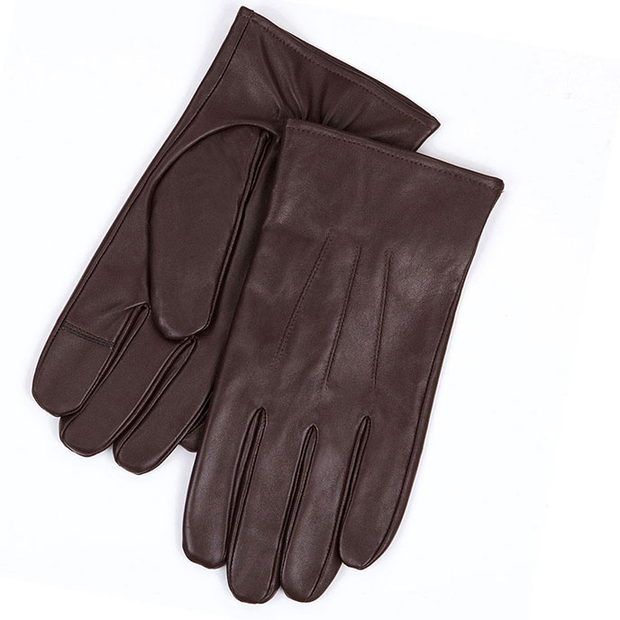 isotoner Mens 3 Point Leather Smartouch Gloves Brown