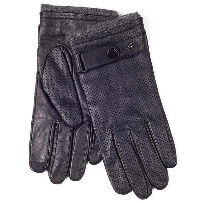 isotoner Mens Punched Leather Smartouch Gloves Black
