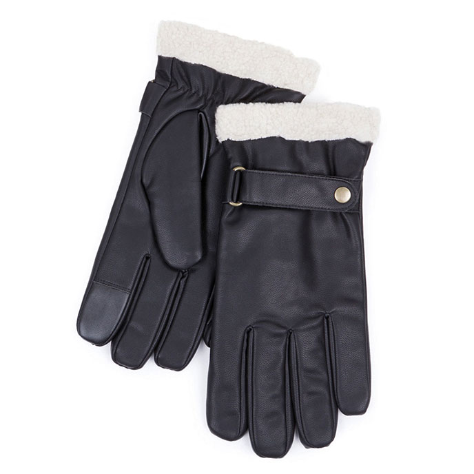 Smartouch Mens Pu Gloves With Berber Cuff Black
