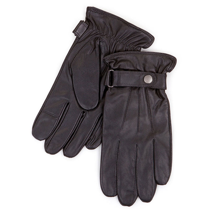 Smartouch Mens Leather Gloves With Strap Black