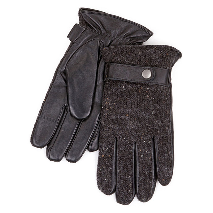 Isotoner Mens Smartouch Knit Leather Gloves Black