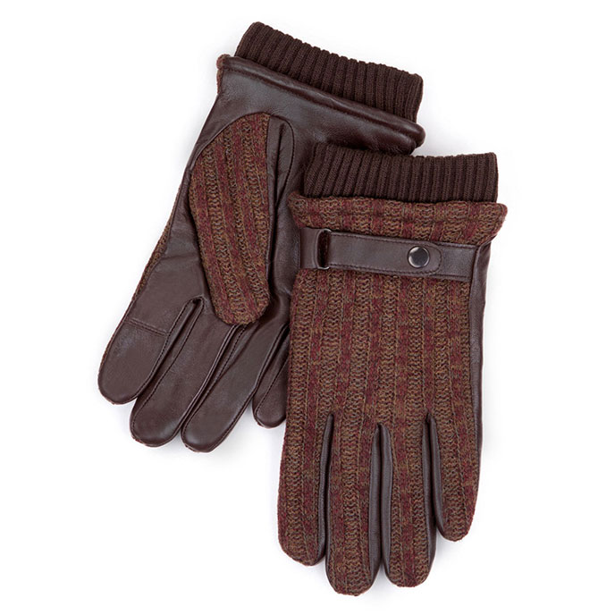 Smartouch Mens Rib Marl Back Leather Gloves Brown