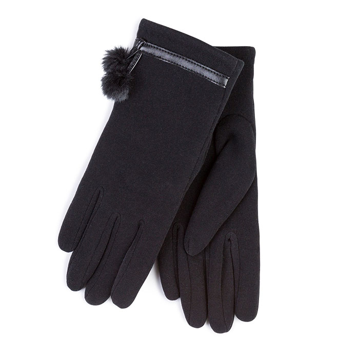 Isotoner Ladies Thermal Glove with Faux Fur & Pom Pom  Black