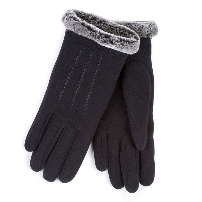Isotoner Ladies Thermal Glove With Fur Cuff & Stitching Black
