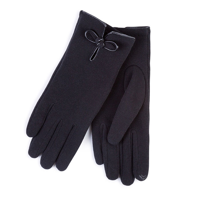 Isotoner Ladies Smartouch Thermal Gloves with PU Knot Black