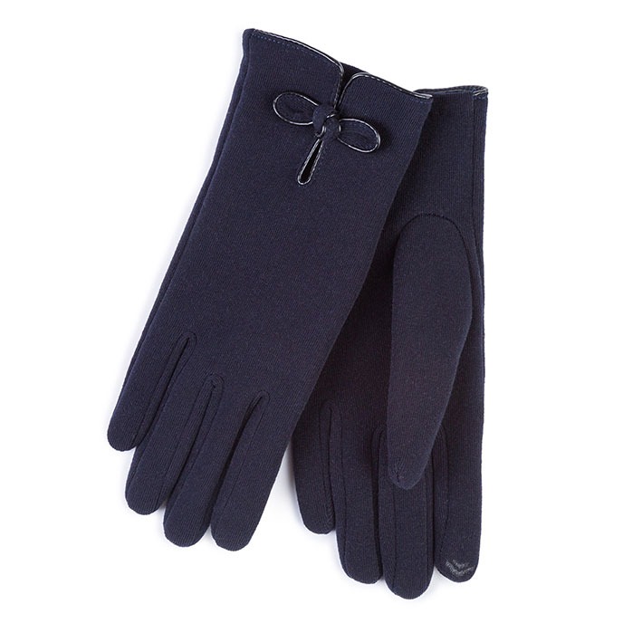 Isotoner Ladies Smartouch Thermal Gloves with PU Knot Navy