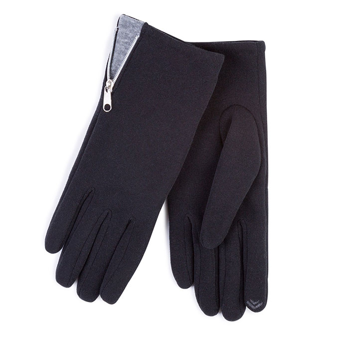 Isotoner Ladies Smartouch Zip Detail Glove Black