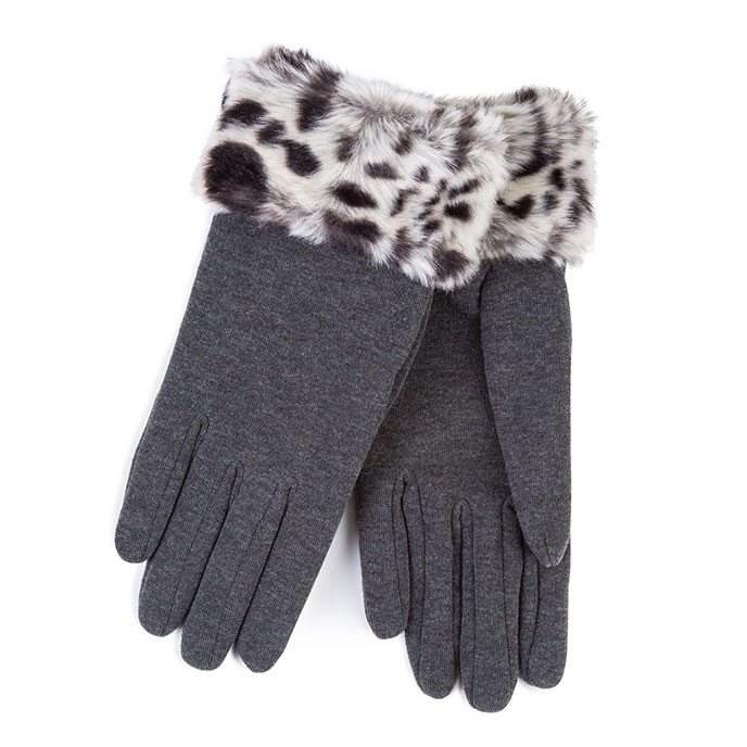Isotoner Ladies Thermal Faux Fur Gloves  Grey